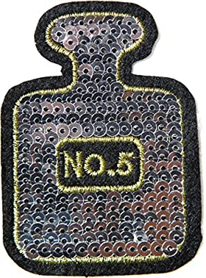 Bottle Women Perfume No 5 Eau De Parfum Spray Sequin Shine Shiny Patch Sew Iron on Embroidered Applique Craft Handmade Baby Kid Girl Women Sexy Lady Hip Hop Cloths DIY Costume (SILVER)