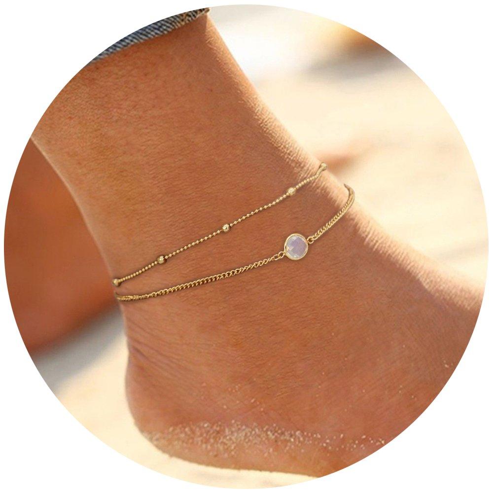 Bangle009 Boho Summer Beach Women Barefoot Jewelry Shell Charm Anklet Chain Ankle Bracelet Black