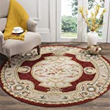 Safavieh Easy to Care Collection EZC755A Hand-Hooked Ivory and Red Round Area Rug (8′ Diameter) For Sale