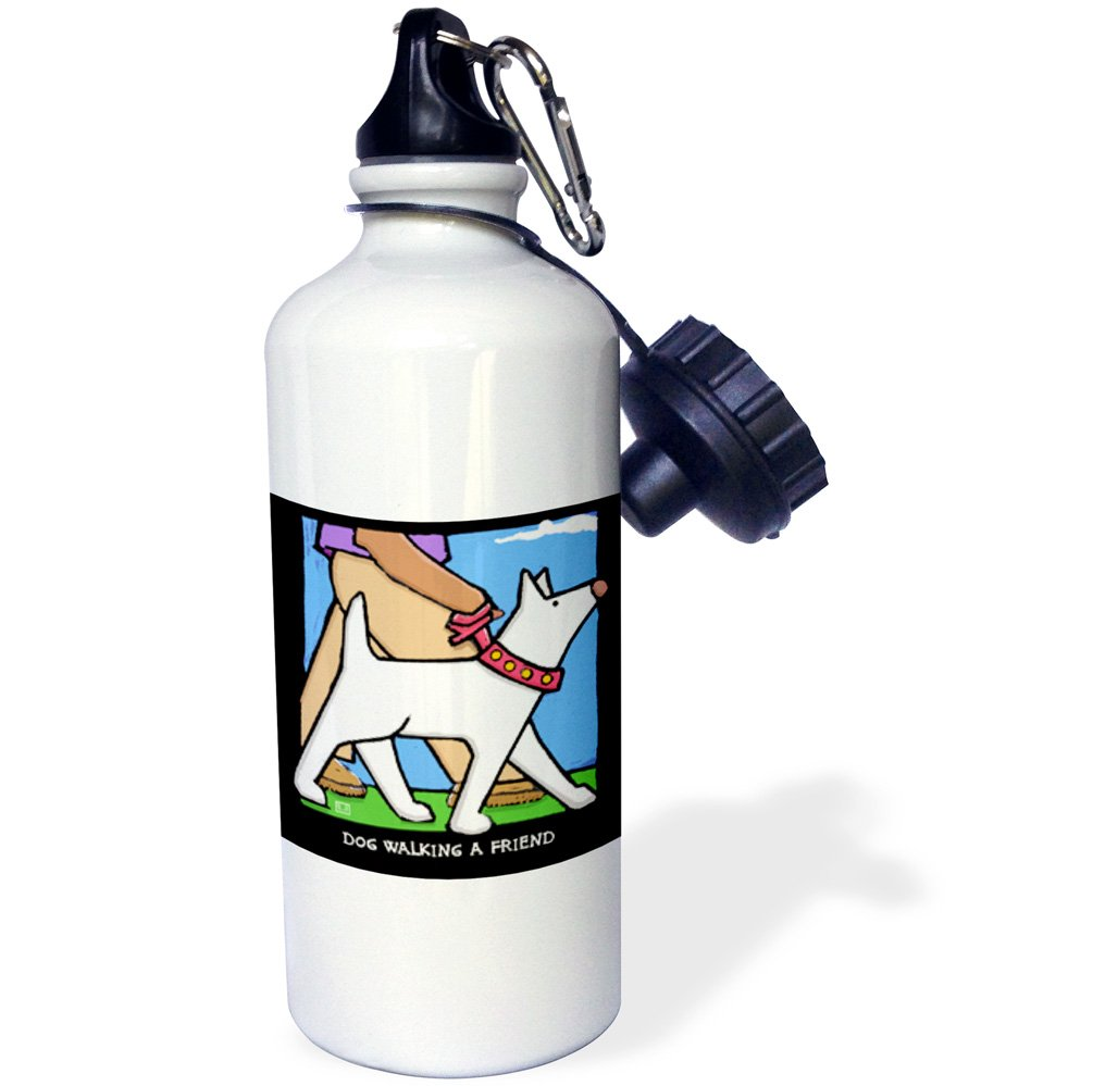 3dRose wb_36694_1 Dog Walker, Cartoon Dogs, Funny Dogs, Puppies Pets, Funny Pets, Animals Sports Water Bottle, 21 oz, White