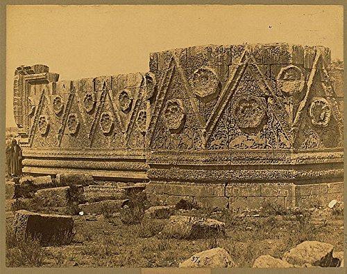 Photo: Haarem de Mauret, Elaborately carved stone, ruins, Qasr al-Mshatta, Islamic Umayyad . Size: 8 by Infinite Photographs