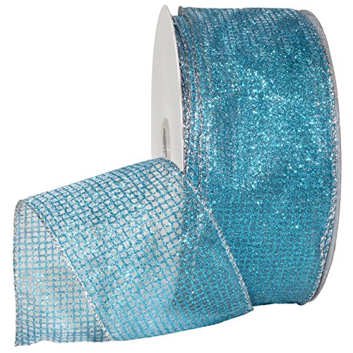 Wired Metallic Ribbon (Morex Ribbon 7435 Cosmic Ribbon 2-1/2 Inch, 50-Yard Blue)