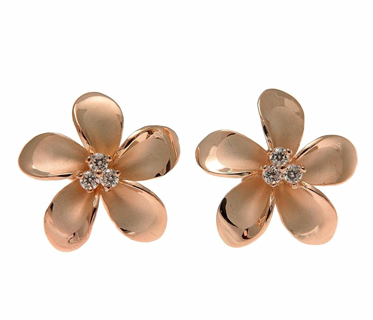 925 sterling silver pink rose gold plated Hawaiian plumeria flower 3 cz stud post earrings 18mm