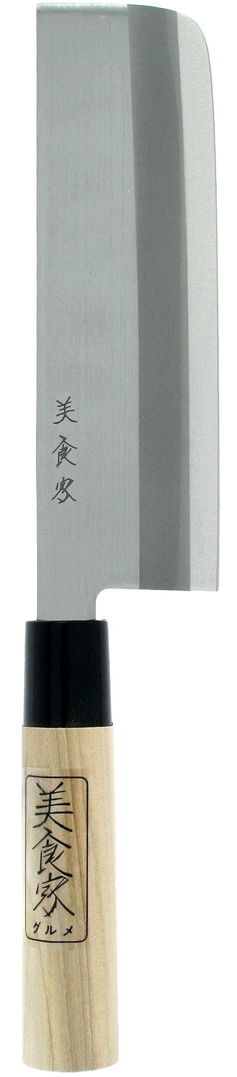 Kotobuki Japanese Nakiri Vegetable Knife, 6 to 1/2-Inch, Silver by Kotobuki
