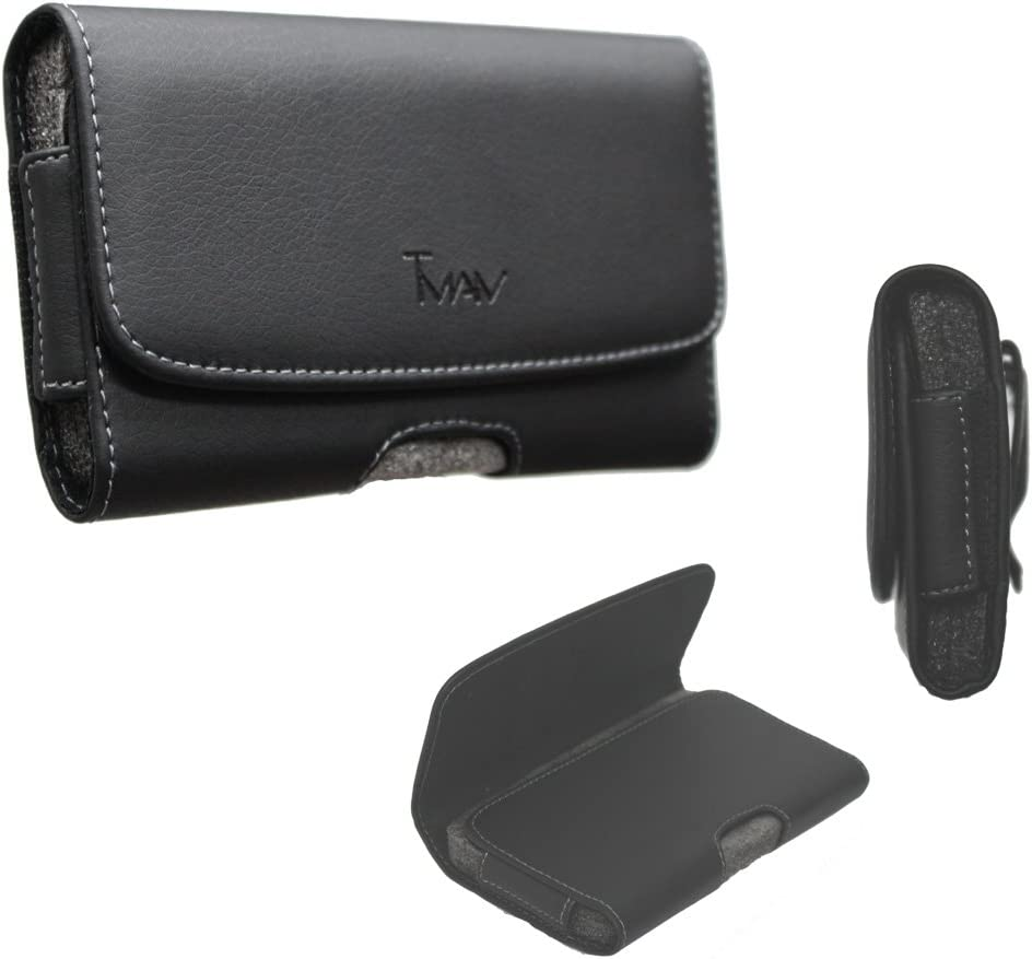 LG K30 Pouch Case, XL size fit side way leather [Pouch] [holster] clip case for LG K30/LG K10 2018 (fits the phone With Thick hybrid case/Otter box type case)