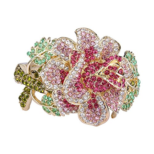 (EVER FAITH Women's Austrian Crystal Flower Leaf Bangle Bracelet Pink Gold-Tone)