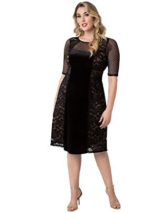 Kiyonna Womens Plus Size Mixed Lace Cocktail Dress 0X Black Lace with Caramel Lining