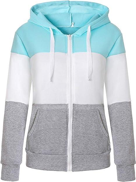 Chigant Damen Jacke Kapuzenpullover Reißverschluss Sweatjacke Hoodie Sweatshirt Pullover Oberteile V Ausschnitt Patchwork Pulli mit Kordel und Zip