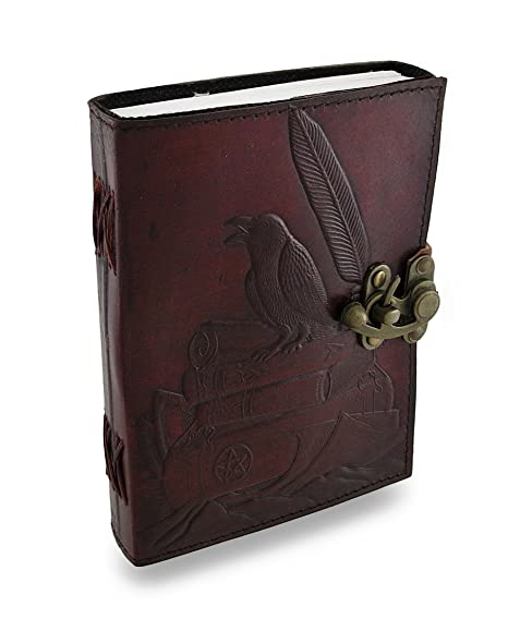 amazon com raven on books embossed 5 x 7 in leather journal 240