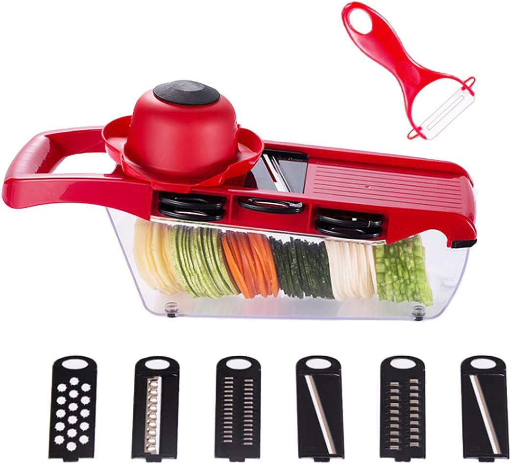 Mandolin Vegetable Slicer, Multi-function Vegetable Food Cutter Fruit Slicer Easy Clean Store with 6 Blades Peeler Vegetable Food Grater Chopper for Potato, Tomato, Carrot, Onions, Cucumber and Cheese