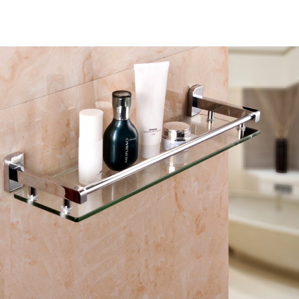 Glass Rack/Single Layer,Tempered Glass,Restroom -Storage Shelf-C