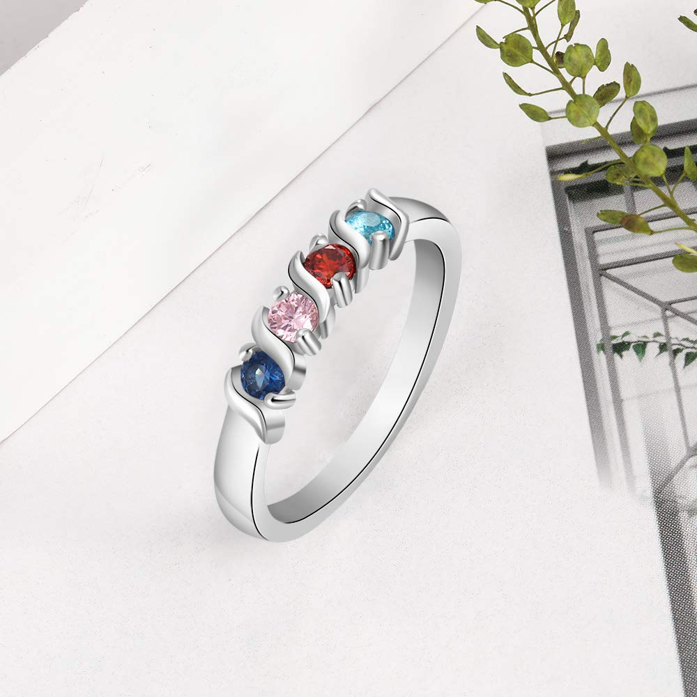 Grandma Rings with 4 Simulated Birthstones Personalized Family Jewelry Womens Promise Rings Engraved Names
