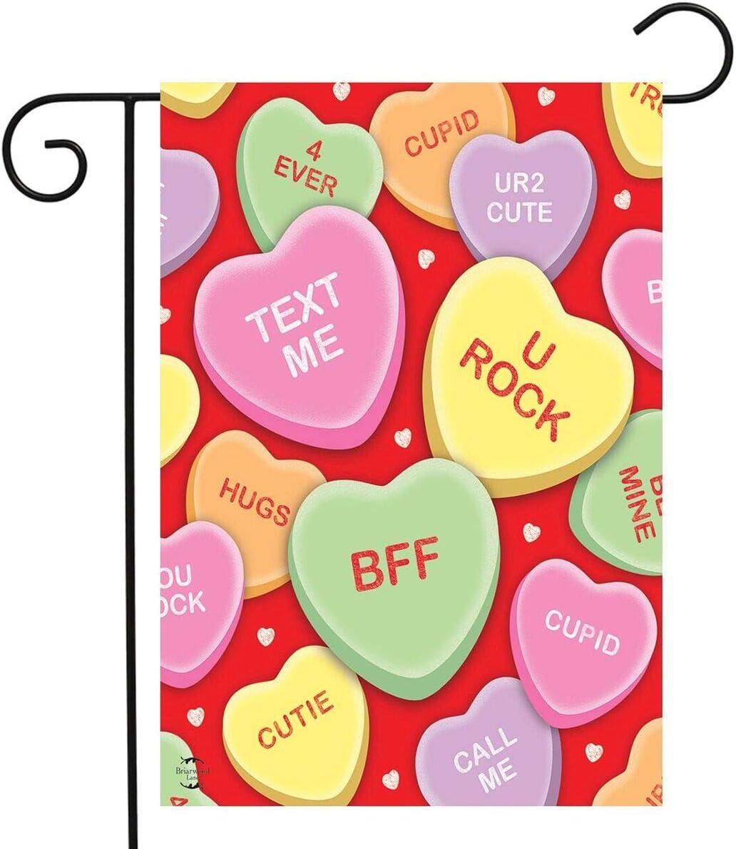 "Briarwood Lane Candy Hearts Valentine's Day Garden Flag Love Phrases 12.5"" x 18"""