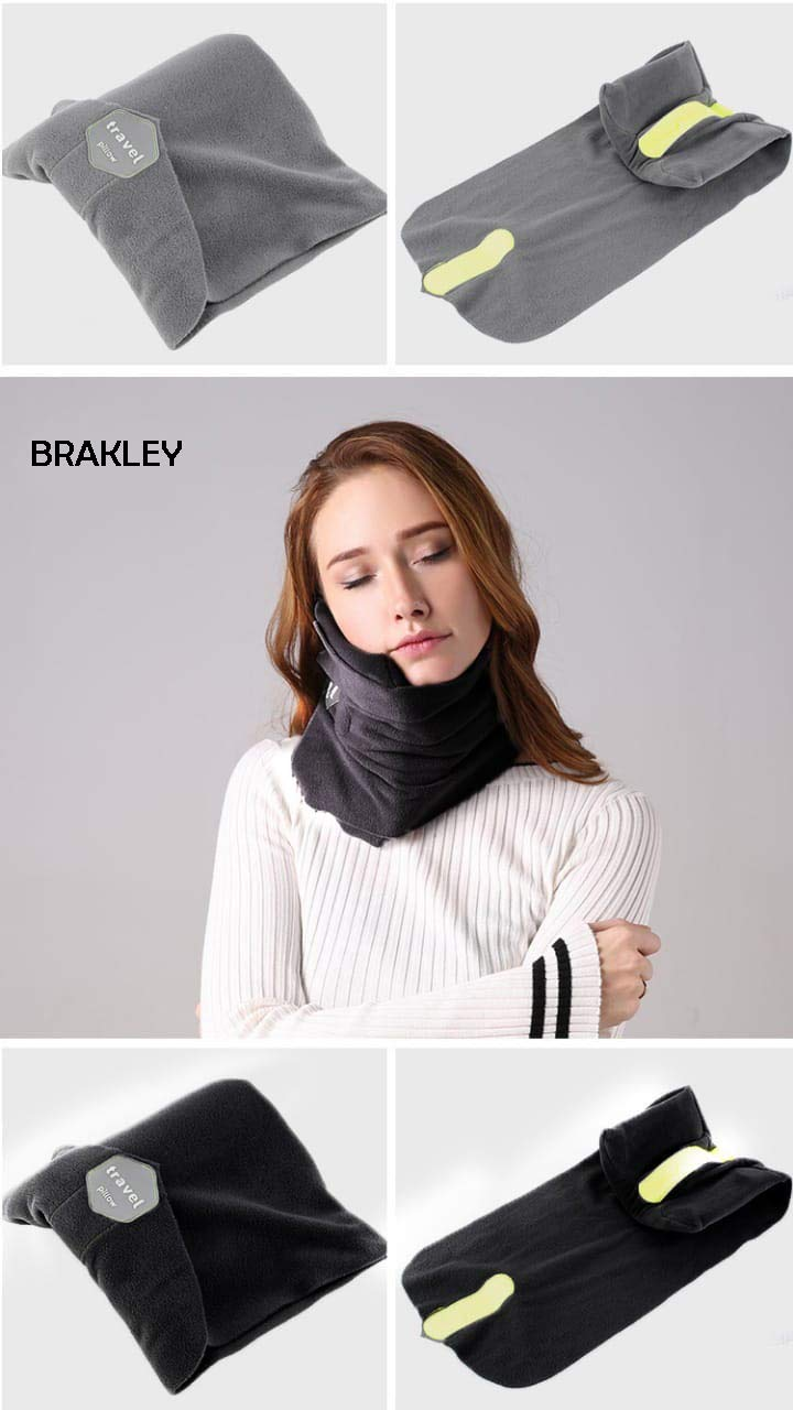 BRAKLEY Travel Pillow - Scarf Style Soft Neck Support Travel Pillow - Scientifically Proven – Super Soft - Machine Washable (Grey)