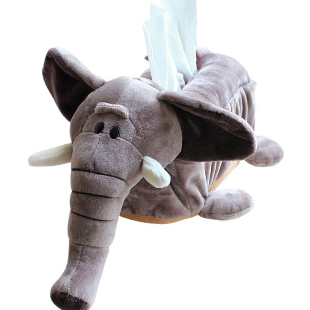 CHOOLD Cute Cartoon Animal Tissue Box Cover Paper Holder Napkin Box for Car Home Bathroom Kitchen Office(Elephant Lion Hippo)