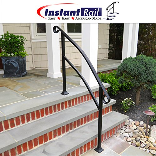 InstantRail 4-Step Adjustable Handrail (For Concrete Steps) by InstantRail