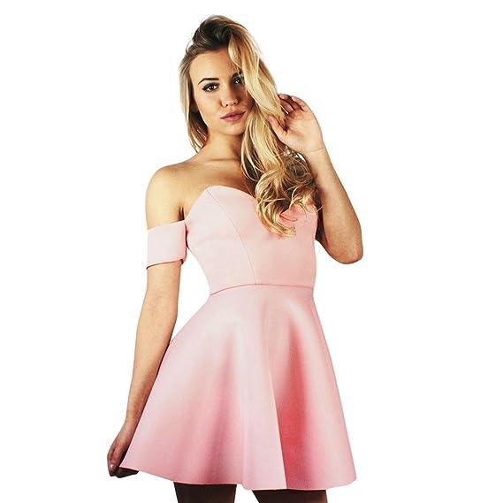 Damen Einfarbig Kurzarm Kleid A-Line Sommer Swing Partykleid Freizeitkleider