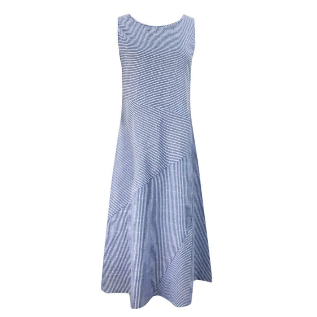 BODOAO Women Linen Casual Striped Sleeveless Dress Crew Neck Pocket Long Dress