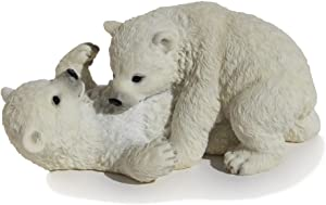 6.25 Inch Polar Bears Cubs Playing Decorative Statue Figurine, White