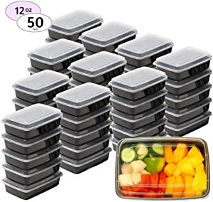 Premium SMALL Meal Prep Containers 50 Pack Mini Microwave Freezer Safe Food Storage Containers Meal Prep Best Disposable Plastic Food Prep Lunch Containers With Lid, Bento Box, 50 Pack 12oz, by SEWTCO