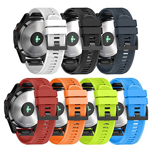 ANCOOL Compatible Garmin Fenix 5X Band Easy Fit 26mm Width Soft Silicone Watch Strap Replacement for Garmin Fenix 5X/Fenix 3/Fenix 3 HR - Pack of 7