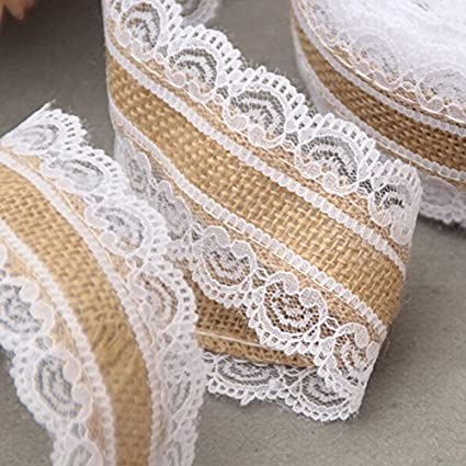 burlap ribbon lace ribbon 10m natural jute burlap hessian lace ribbon roll white