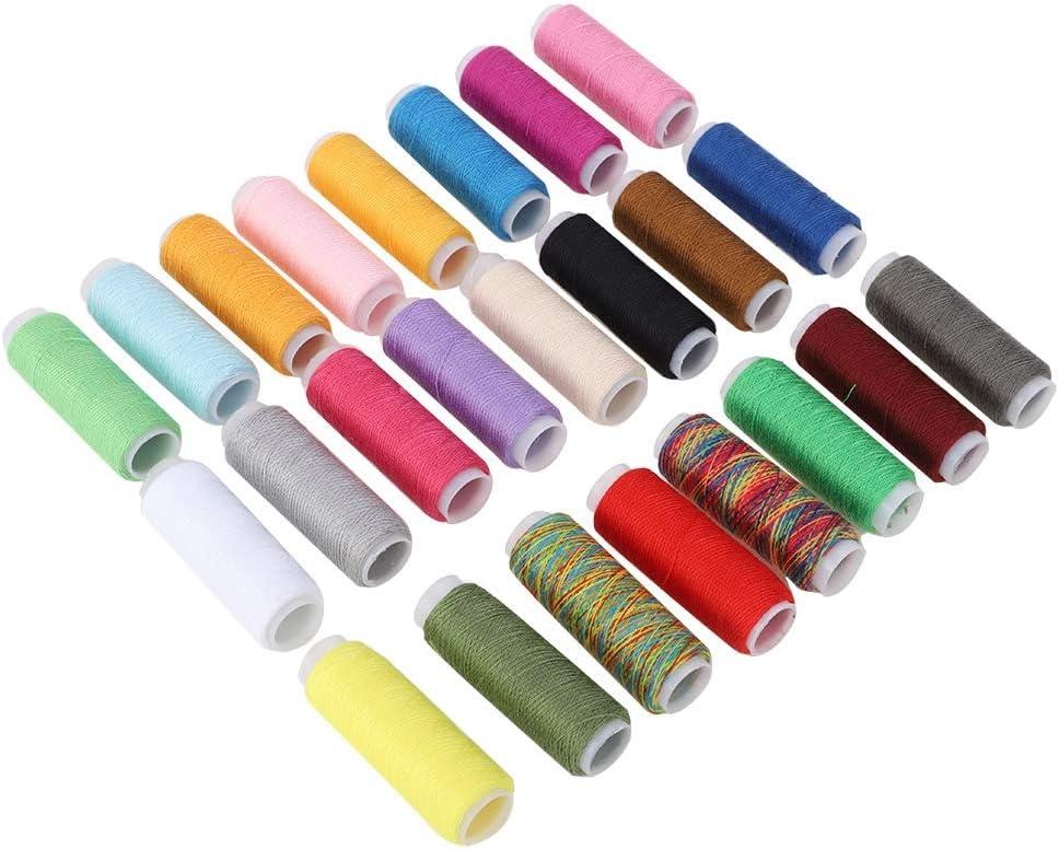 Fdit 24 Colores de Costura de Cuero Encerado Hilo de Tela Cuerda de Bobina de Costura Suministros para DIY Pulsera de Joyería de Abalorios