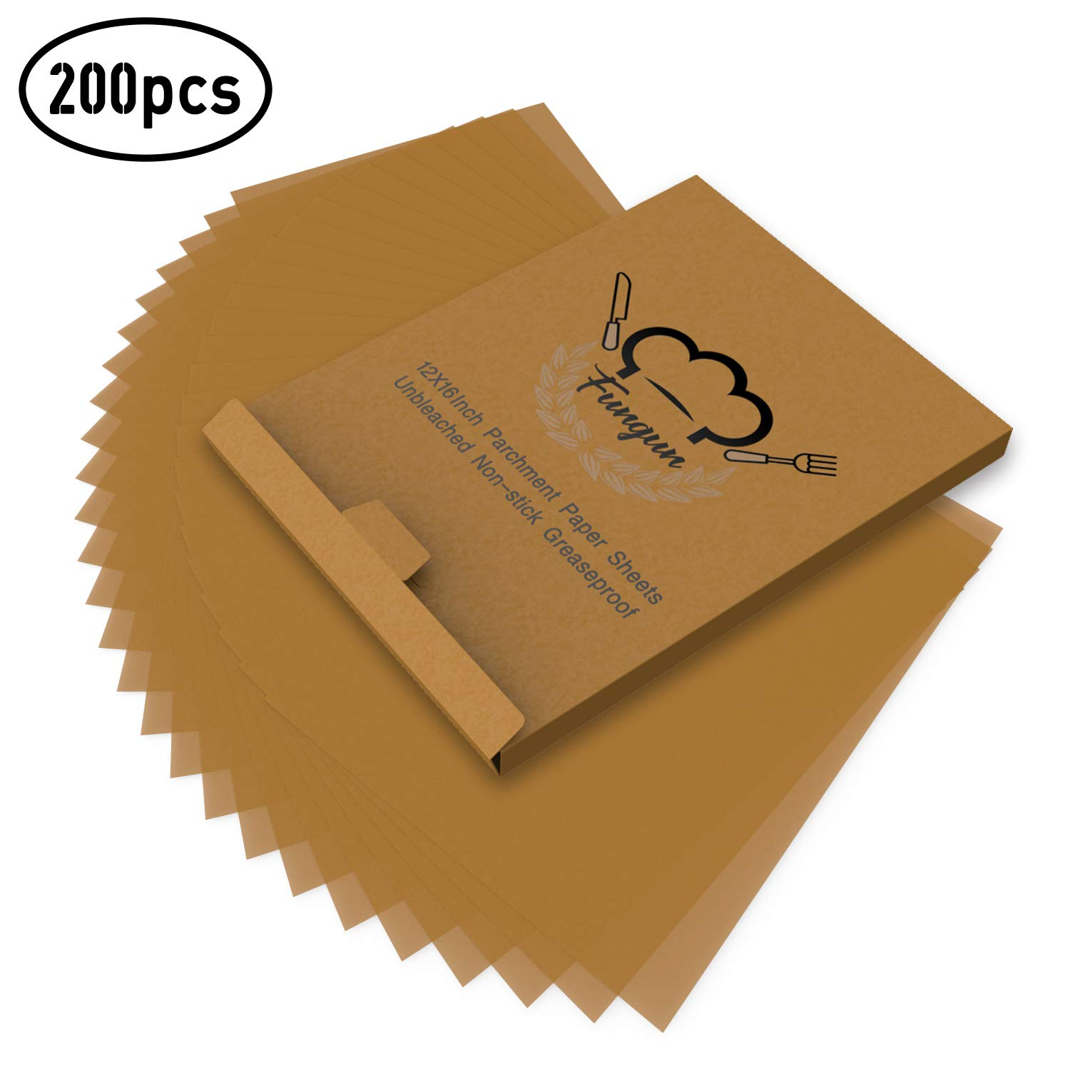 200pcs Parchment Paper Baking Sheets, Fungun 12x16'' Non-Stick Unbleached Precut Parchment Paper for Cook, Grill, Steam, Pans, Air Fryers, Hamburger Patty Paper by fungun