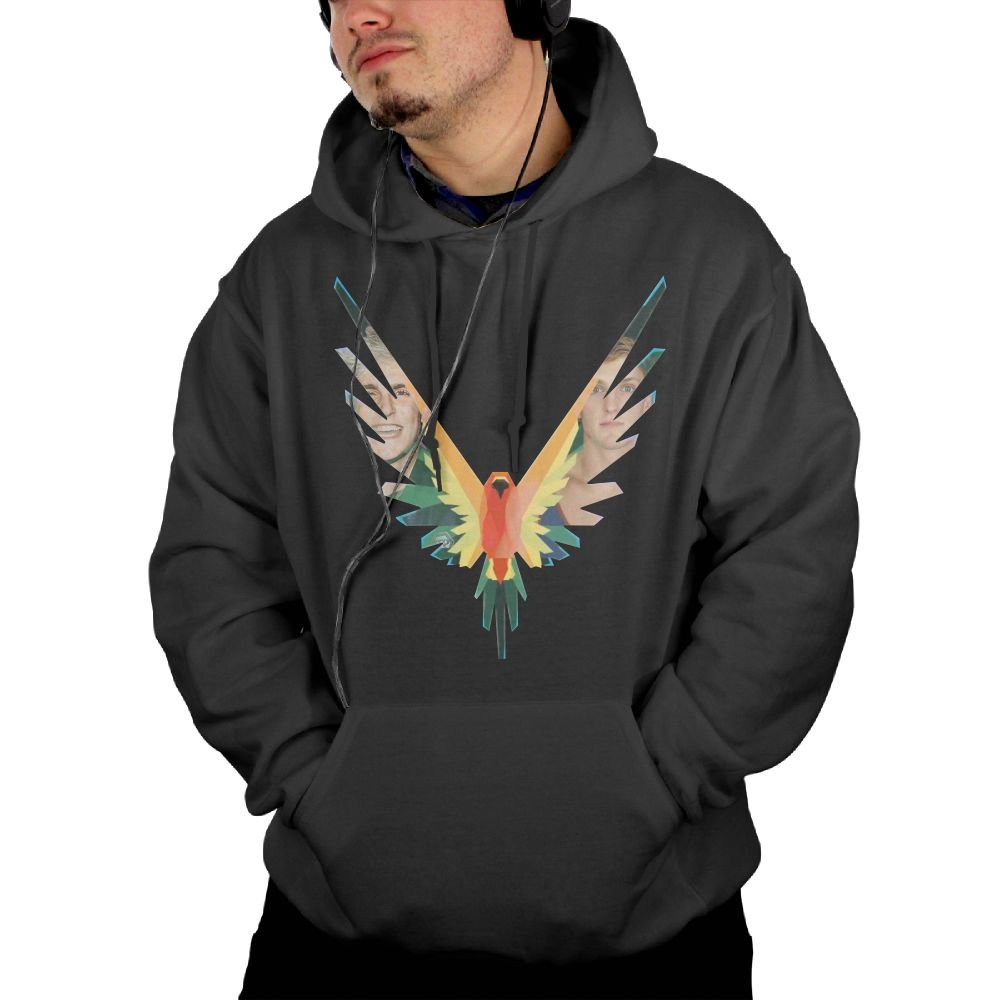 Katie P Hunt Logang Mens Hoodies Sweater with Pocket Sweater Black