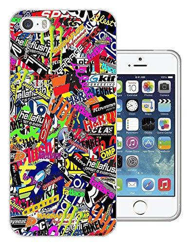 112 - Stickerbomb Sticker Bomb Cars Cool Funky Design iphone 5 5S Fashion Trend Protecteur Coque Gel Rubber Silicone protection Case Coque