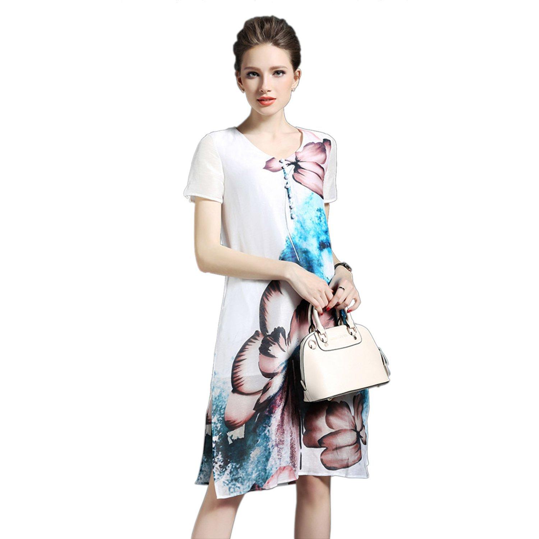 Damen Elegant Leinenkleid A Linie Kurzarm Cheongsam Stil aus Seide ...