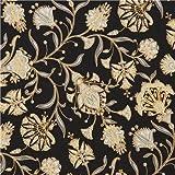 Black grey flower gold metallic fabric Robert Kaufman Studio RK (per 0.5 yard unit)