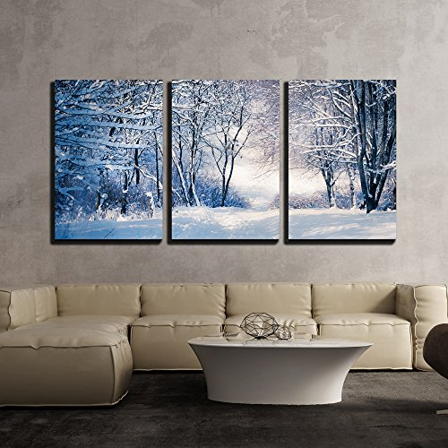 "Wall26 - 3 Piece Canvas Wall Art - Winter Landscape in Snow Forest. Alley in Snowy Forest - Modern Home Decor Stretched and Framed Ready to Hang - 16""x24\""x3 Panels"