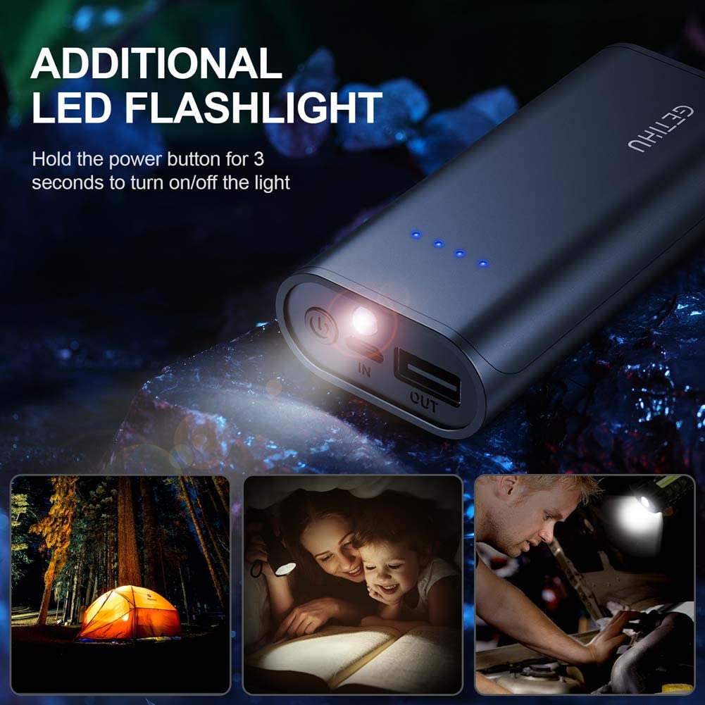 Palm Size LED Display 5200mAh Portable Charger External Phone Battery Pack for iPhone 11 X 8 Plus Samsung S10 LG iPad etc 4.8A 2 USB Ports High-Speed Power Banks with Flashlight GETIHU Power Bank