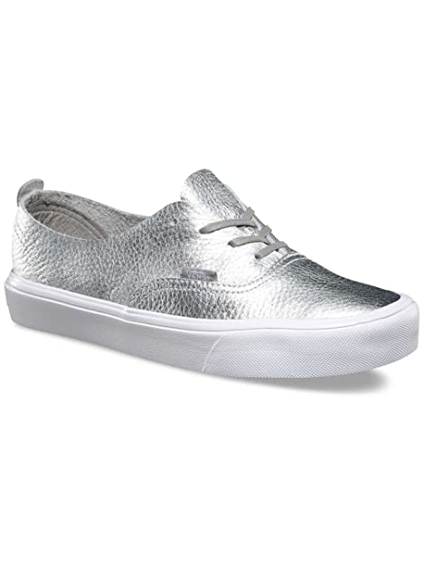 b933ca11681726 Vans Women s Authentic Decon Lite Leather Lace Up Trainer Silver-Silver-7  Size 7