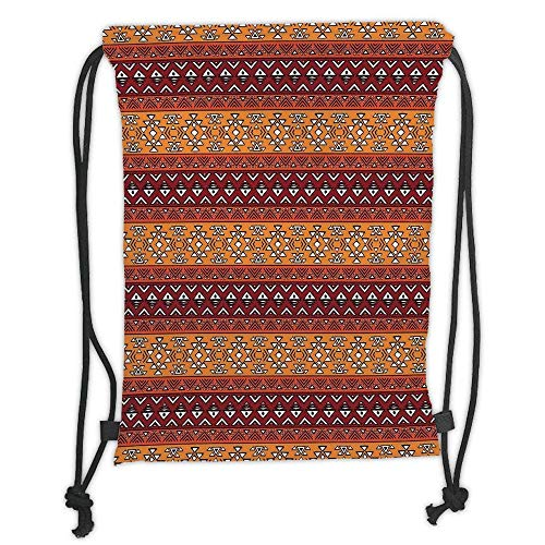 Bike Maya Girls - Custom Printed Drawstring Backpacks Bags,Native American,Maya Inspired Horizontal Esoteric Latin Inspired Geometric Pattern Print Decorative,Ruby Apricot Soft Satin,5 Liter Capacity,Adjustable St