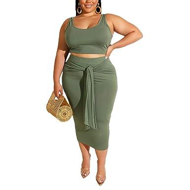 dec68e3d2edb76 Women's Casual Summer Plus Size Tye Die Tank Crop Top Maxi Skirt Set  Bodycon 2 Piece