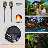 Solar Lights for Garden Outdoor Waterproof Flickering Flames Torches Lights Dusk to Dawn Auto On/Off | Solar Lights Security Path Lights for Garden Patio Deck Driveway | 2