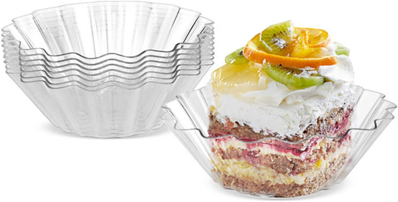 Healthcom 60 Pcs 3 inch Clear Plastic Appetizer Plates Flower Ice Cream Dessert Bowls Dessert Plates Cup Mini Appetizers Dishes Serving Plates Dip Sauce Snacks Plates Tasting Sampling Party Supplies
