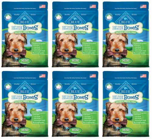 BLUE Bones Mini Size Natural Dental Chews for Dogs 4.5lb (6 x 12oz)