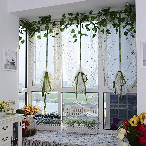 ChezMax Rod Pocket Adjustable Tie-up Drape Panels Voile Embroidered Roman Sheer Curtains 31