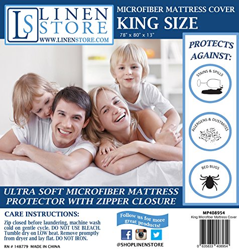 Microfiber Zippered Mattress Cover, Bed Bugs Shield, Dustmites Protector, Hypoallergenic - Stores King
