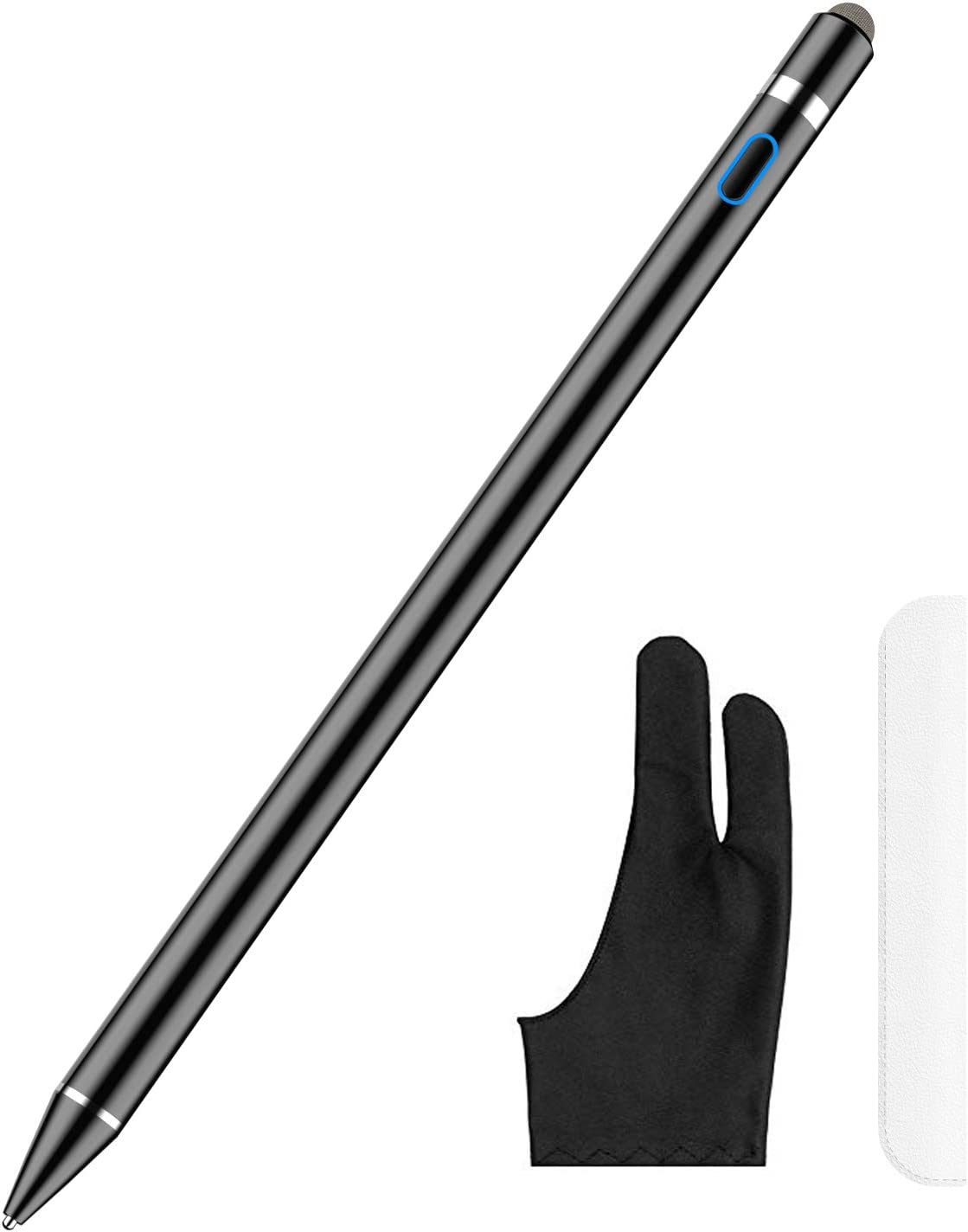 Stylus Pen for Touch Screens, XIRON Rechargeable 1.5 mm Fine Point Active Stylus Pen Smart Digital Pencil Compatible with iPad iPhone and Most Tablets High Precise Pencil with Glove