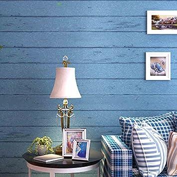 Bleu Méditerranée orientale bois chambre rétro salon TV fond mur ...