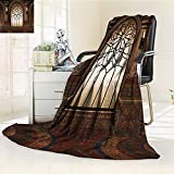 AmaPark Digital Printing Blanket Myst Gate with Oriental Islamic and Curvings Artistic Design Brown Summer Quilt Comforter