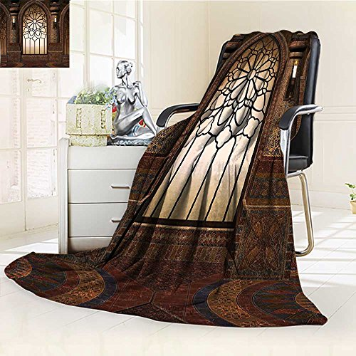 AmaPark Digital Printing Blanket Myst Gate with Oriental Islamic and Curvings Artistic Design Brown Summer Quilt Comforter by AmaPark