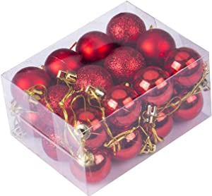 Zuou Christmas Balls Ornaments,24 Pack Christmas Tree Ornaments Set,Mini Shatterproof Holiday Ornaments Balls for Christmas Decorations (Red)