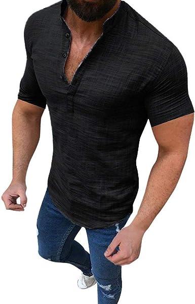 Men/'s Shirt T-Shirt Short-Sleeved Cotton Linen Casual Slim Shirt Beach Sleeves