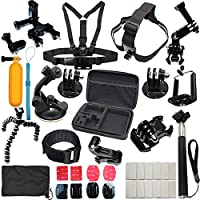 37-in-1 Sports Accessories Kit Bundle Attachments for Gopro Hero 5 4 3+ 3 2 1 SJ4000 SJ5000 HD Action Video Cameras DVR by LotFancy, Storage Case Included