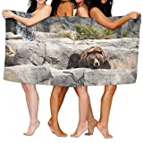 PengMin Quiet Animal Bear Premium 100% Polyester Large Bath Towel, Pool And Bath Towel (80'' X 130'') Natural, Soft, Quick Drying